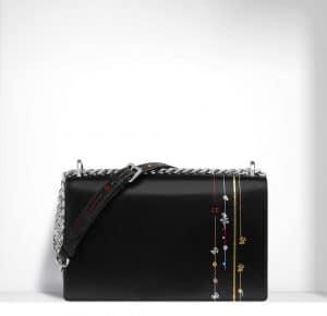 Dior Black with Decoration Diorama Flap Bag