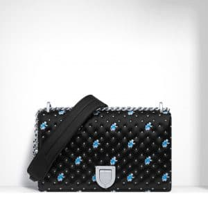 Dior Black/Blue Embroidered/Quilted Diorama Flap Bag