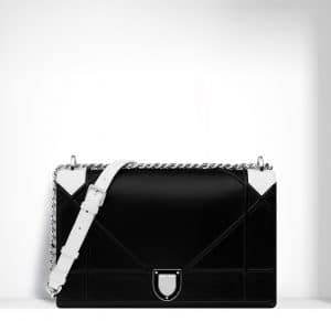 Dior Black/White Python/Lambskin Diorama Large Flap Bag