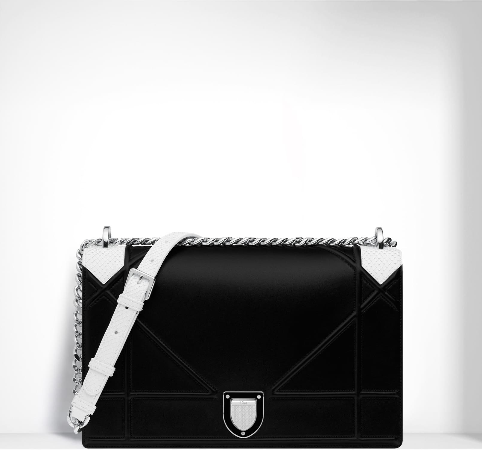 b5d7d4309f45 Dior Black White Python Lambskin Diorama Large Flap Bag