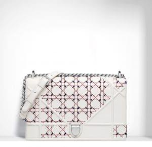 Dior Latte Tufted Lambskin Diorama Large Flap Bag