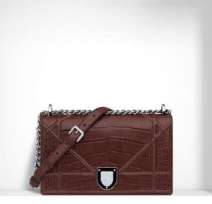 Dior Noisette Crocodile Diorama Flap Bag