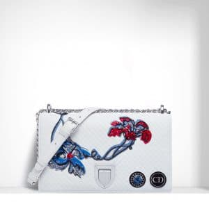Dior White Quilted/Embroidered Diorama Flap Bag