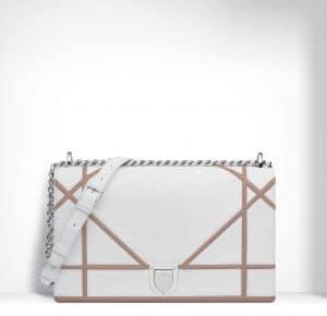 Dior White/Dune Python/Lambskin Diorama Large Flap Bag