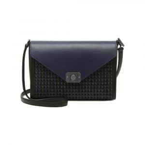 Mulberry Midnight Blue/Black Duo Colour Woven Leather Delphie Bag