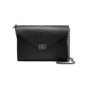 Mulberry Mole Grey/Black Silky Snake Leather Large Delphie Bag
