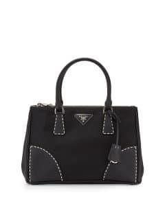 Prada Black Leather/Nylon City Stitch Tote Bag