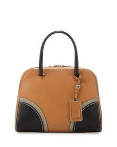 Prada Black/Natural Vachetta Satchel Bag