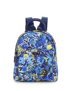 Prada Blue Floral Tessuto Stampato Floral Backpack