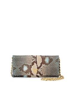 Prada Blue Python Wallet On A Chain Bag