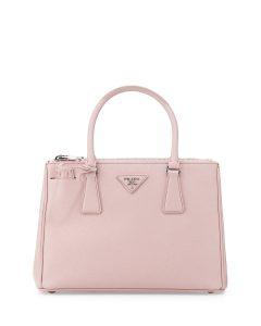 Prada Light Pink Saffiano Lux Double Zip Tote Bag