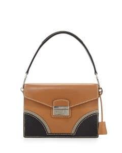 Prada Natural/Black Vachetta Bicolor Shoulder Bag