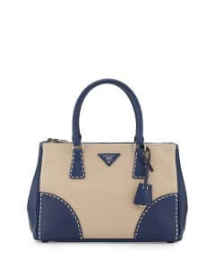 Prada Navy Leather/Canvas City Stitch Tote Bag