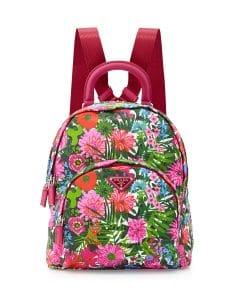 Prada Pink Floral Tessuto Stampato Floral Backpack