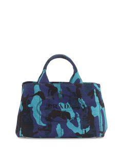 Prada Royal Blue Canapa Canvas Camouflage Gardener's Tote Bag