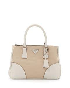Prada White Leather/Canvas City Stitch Tote Bag