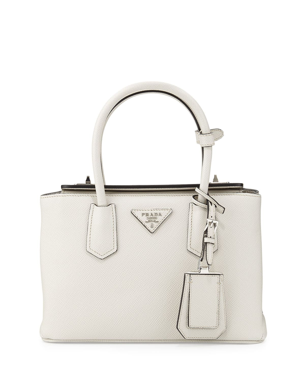 Prada White Saffiano Twin Bag