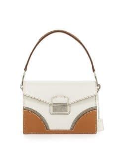 Prada White/Natural Vachetta Bicolor Shoulder Bag