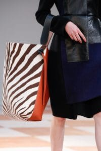 Celine Orange/White/Brown Zebra Print Large Tote Bag - Fall 2015 Runway