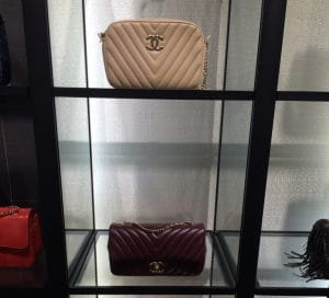 Chanel Beige Camera Chevron Bag:Burgundy Surpique Chevron Bags