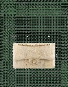 Chanel Beige Python Classic Flap Medium Bag - Spring 2015 Act 2