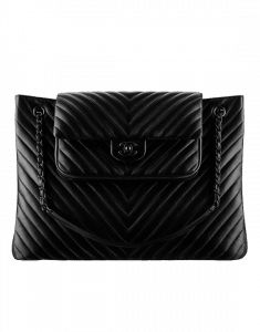 Chanel Black Chevron Shopping Bag - Spring 2015 Act 2
