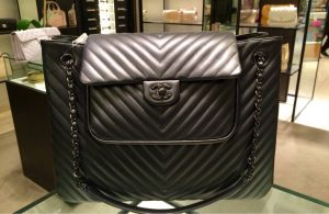 Chanel Black Chevron Tote Bag