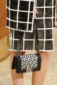 Chanel Black/White Woven Boy Bag - Fall 2015 Runway