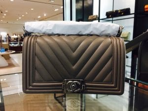 Chanel Brown Chevron Boy Old Medium Bag