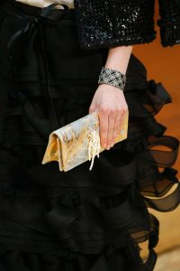 Chanel Gold/Silver with Fork and Pearls Clutch Bag - Fall 2015 Runway