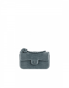 Chanel Grey Alligator witb Camellia Mini Flap Bag - Spring 2015 Act 2