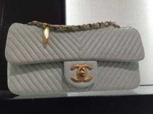 Chanel Grey Chevron Flap Bag