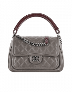 Chanel Grey Quilted Flap with Rigid Handle Large Bag - Spring 2015 Act 2