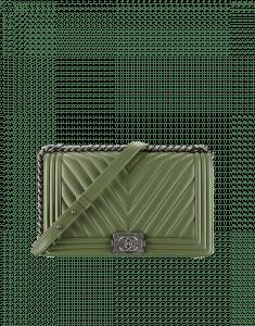 Chanel Olive Green Chevron Boy Medium Bag - Spring 2015 Act 2