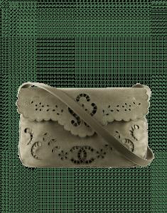 Chanel Olive Green Embroidered Velvet Messenger Bag - Spring 2015 Act 2
