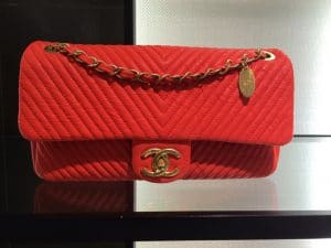 Chanel Red Chevron Flap Bag