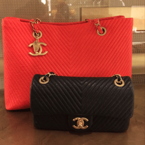 Chanel Red Tote/Black Flap Chevron Bags