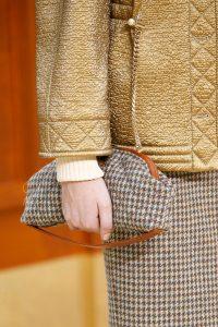 Chanel Tan/Beige/Blue Houndstooth Print Clutch Bag - Fall 2015 Runway