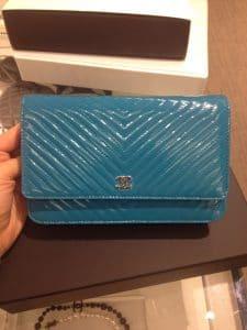 Chanel Turquoise Chevron WOC Bag