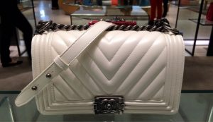 Chanel White Chevron New Medium Bag