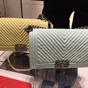 Chanel Yellow/Mint Green Chevron Medium Flap Bags