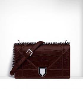 Dior Aubergine Glossy Crocodile Diorama Flap Bag - Spring 2015