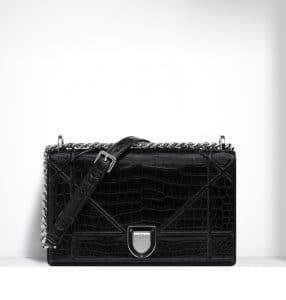 Dior Black Glossy Crocodile Diorama Flap Bag - Spring 2015