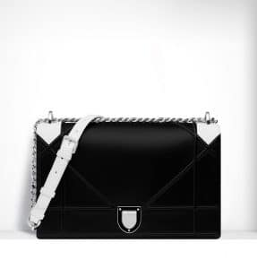 Dior Black Lambskin and White Python Diorama Large Flap Bag - Spring 2015