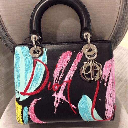 Dior Black Multicolor Embroidered Lady Dior Bag