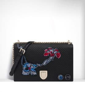 Dior Black Quilted and Embroidered Diorama Flap Bag - Spring 2015