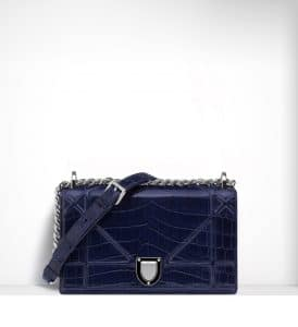 Dior Navy Glossy Crocodile Diorama Flap Bag - Spring 2015