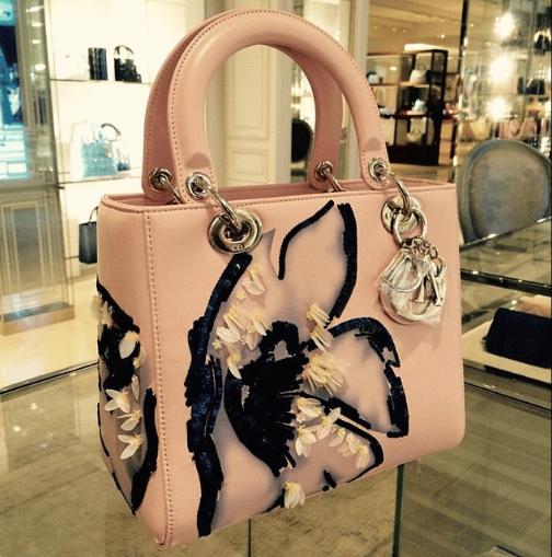 Dior Pink Embellished Lady Dior Bag