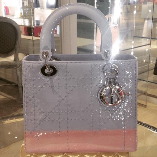 Dior Pink/Purple Patent Lady Dior Bag