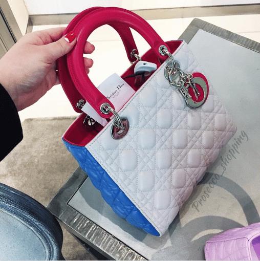 Dior Pink/White/Blue Lady Dior Bag